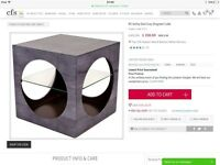 2 x Grey Shagreen cube side tables / bedside tables