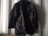Leather Jacket Coat Black XXL size