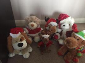 6x Christmas teddy's musical