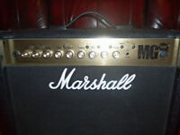 marshall mg50fx 50watt amp with input for mp3 player as new can be seen working comes with leads