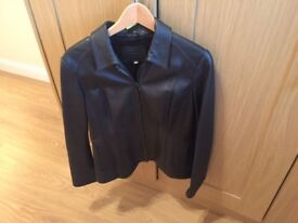 Women's M&S Brown Leather Jacket Size 14