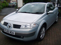 2005 05 renault megane convertible low milage recent mot 2 keys only £1495