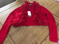 Frilly red ladies cardigan, size small, brand new with tags