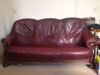 Dark Red Real Leather Three Seat Sofa with Two Matching Armchairs on Solid Wooden Frames