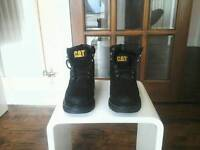 Mens caterpillar steel toe cap safety leather work boots brand new size 8