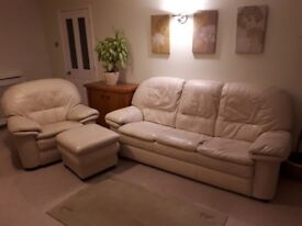 Cream Leather 3 seater sofa, chair and footstool. Excellent condition, animal free household.