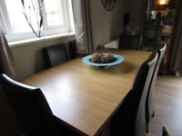 Good Quality Extendable Light Oak Effect Dining Table & Two Brown Faux Leather Chairs