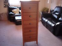 Pine Tall bedroom drawers