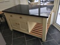 Handmade kitchen island with granite top
