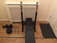 York cast iron weights and folding bench