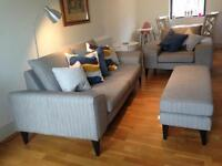 OFFERS WELCOME French Connection 3 Piece Suite in excellent condition