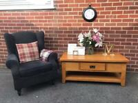 Solid OAK Coffee Table Oak Furniture Land Shabby Chic Chunky Cottage