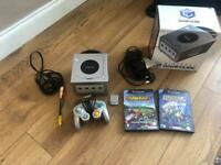Silver GameCube w two games, memory card, box & controller