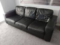 Black leather sofa, armchair and footstool