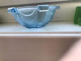 Vintage Bagley blue glass vase and bowl