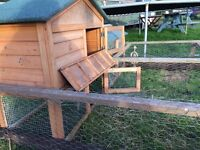 Rabbit hutch with run. Excellent condition