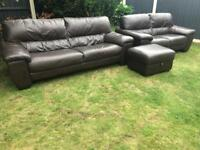 Dfs brown leather modern sofa suite excellent condition can deliver