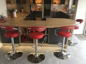Red faux leather kitchen bar stools