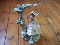 Gorgeous Large Vintage Lladro Figurine - Victorian Girl on a Swing - 1297