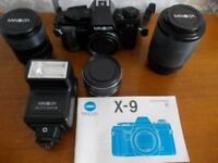 MINOLTA X-9 35mm camera outfit and gadget bag