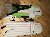 Kookaburra youths cricket pads, woodworm cricket bag, youth guard and wooden cricket hammer