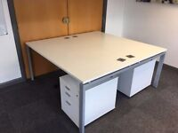 DOUBLE BENCH DESK FOR 2 X PEOPLE - 1600MM X 1600MM / WIRE 2 X PEDESTALS - WHITE