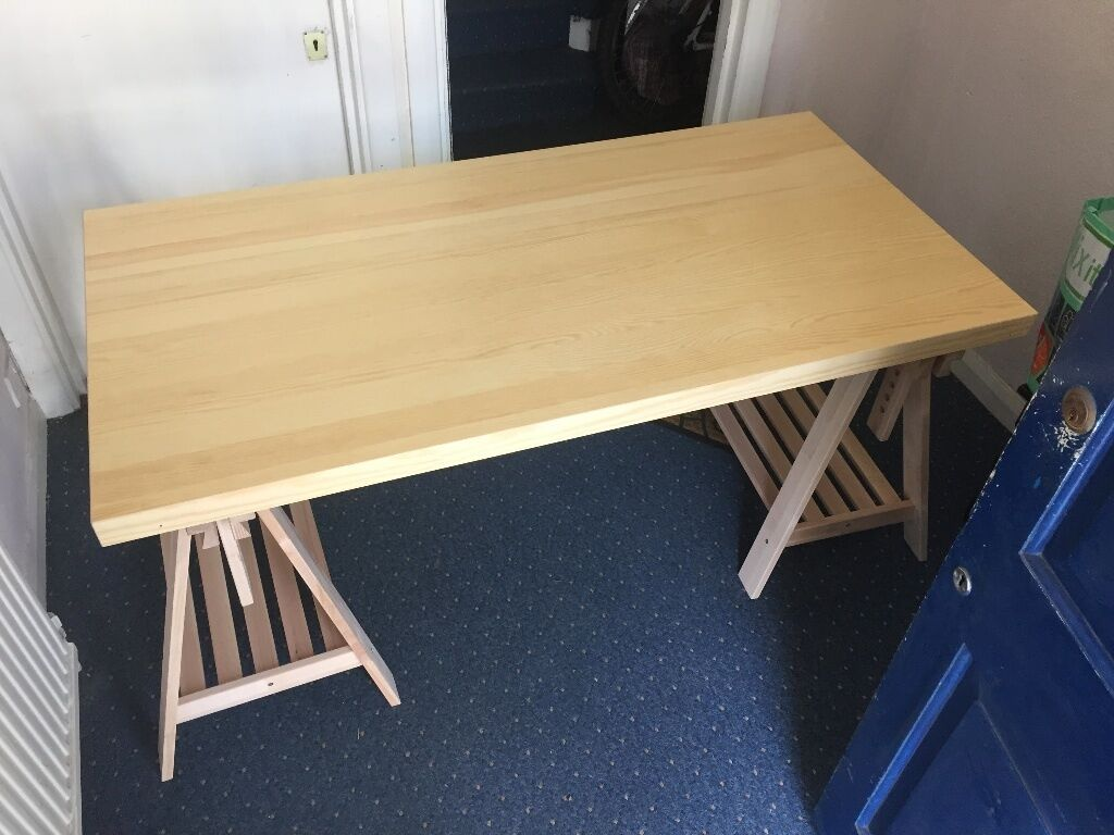 Ikea 2 x finnvard trestle 1 x tornliden table top dining for 1 x 2 table