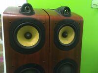 B&W 704 Brown Floor-Standing Speakers - reasonable condition!