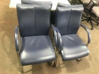 Navy & Chrome Leather High Back Meeting/ Conference Chairs