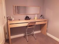 Ikea Malm long dressing table and mirror