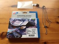 ID card laminating pouches, clips and chains