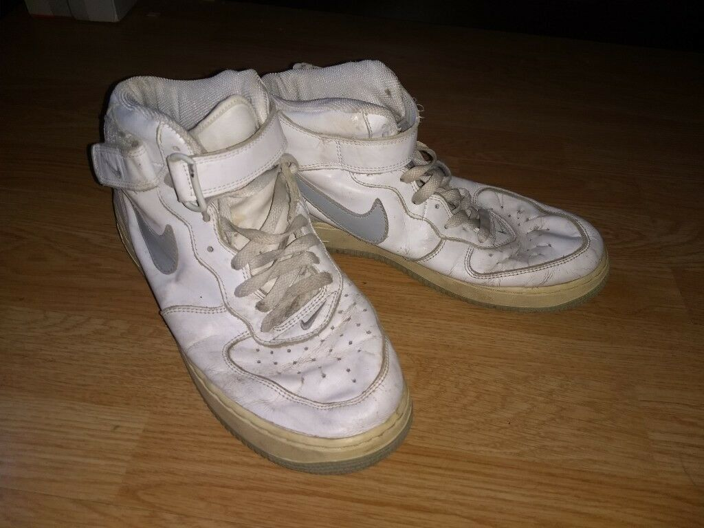 huge discount 36ee2 4cc08 High Top Worn-In Nike Air Force One (1) White Grey Tick, Grey Sole Size 9