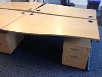 profesional office desk left wave with pedestal drawer