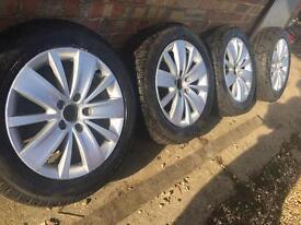 """Genuine VW Golf Croft Pescaro 16"""" alloy wheels +new Pirelli winter tyres Caddy Touran 5x112"""