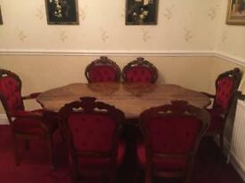 Inlaid Italian table with six chairs