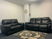 Black leather sofas 3&2 delivery 🚚 sofa suite couch furniture