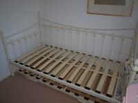 White Metal Frame Day Bed with Trundle takes two santard single bed mattresses £45