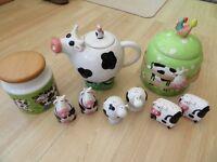 3 BLACK &WHITE COW SALT &PEPPER POTS, COW TEAPOT, ANIMAL BISCUIT BARREL, DUNOON COW COFFEE JAR