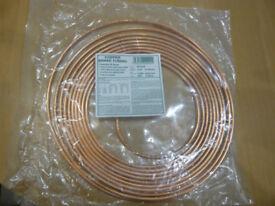 Copper Brake Pipe. New unused roll. 25 feet long.