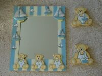 Blue & Cream Teddy Bears and Sailing Boats Mirror and Peg nursery (boy's bedroom?) set