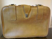 Vintage Leather Travel Suitcase in brown