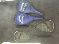Slazenger Challenger Squash Rackets x2 with cases