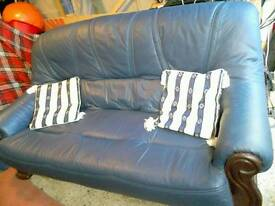 3 seat leather settee and cushions
