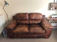 Super Comfy Brown Italian Leather Sofa