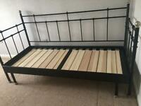Solid black metal cast iron effect day bed
