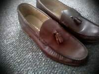 M&S brown leather loafers