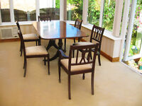 DINING TABLE AND 6 NEWLY UPHOLSTERED CHAIRS – CAN DELIVER