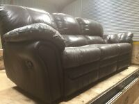 Three/Four Seater Leather Settee with Reclining End Seats