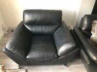 3 seater black sofa and chair with chrome legs