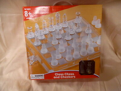 **NIB** Kid Connection Glass and Frosted Chess AND Checkers